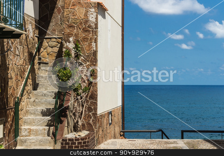 The home on sea view stock photo, Home in Sicily with a beautiful sea view by Alfredo Steccanella