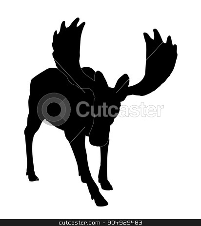 Silhouette adult moose stock vector clipart, Beautiful silhouette of an adult moose with big antlers. Isolated on white by Liubov Nazarova