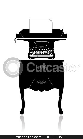 Old typewriter on a small table stock vector clipart, The old typewriter with a blank sheet of paper on a small table by Liubov Nazarova