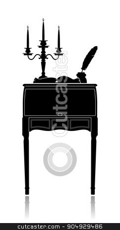 Vintage secretaire with a candelabrum, inkwell and an open book stock vector clipart, Silhouette of a Vintage secretaire with a candelabrum, inkwell and an open book by Liubov Nazarova