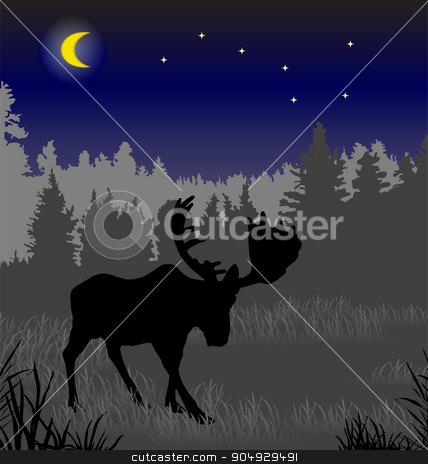 Elk in the night forest stock vector clipart, Elk in the night forest. There is a variant in a vector by Liubov Nazarova