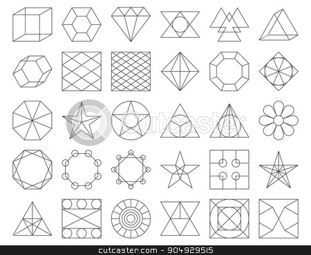 Set of vector trendy geometric icons stock vector clipart, Set of vector trendy geometric icons. Vector illustration set of 30 linear figures by Amelisk