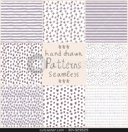Stock Vector hand drawn seamless patterns stock vector clipart, Stock Vector hand drawn seamless patterns . Set of 8 patterns by Amelisk