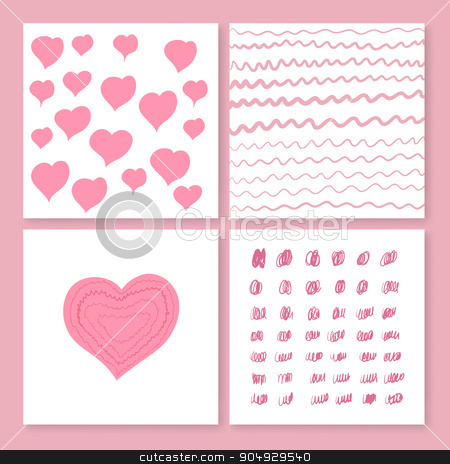 Collection of four cards templates stock vector clipart, Collection of four cards templates . Vector illustration of the heart. romantic invitation by Amelisk
