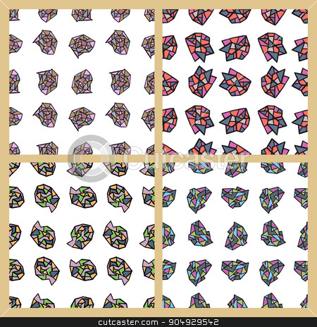 Stock Vector Set of seamless patterns stock vector clipart, Stock Vector Set of seamless colorful mosaic patterns. by Amelisk