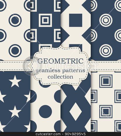 Vector illustration set of seamless patterns stock vector clipart, Vector illustration set of seamless geometric patterns. by Amelisk