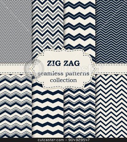 Vector illustration of a set seamless patterns stock vector clipart, Vector illustration of a set of seamless patterns zig zag. by Amelisk
