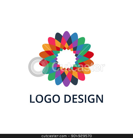 Vector illustration of colorful flower logo stock vector clipart, Vector illustration of colorful flower logo. Stock vector by Amelisk