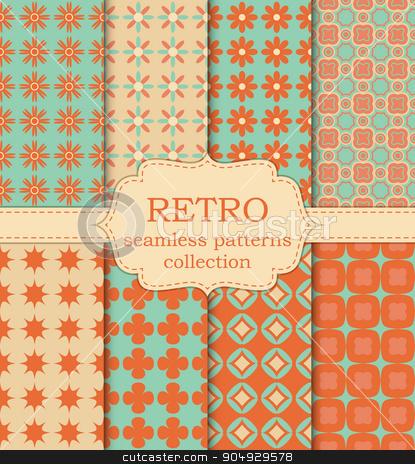 Vector illustration set of seamless retro patterns stock vector clipart, Vector illustration set of seamless retro patterns. by Amelisk