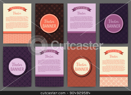 Vector illustration set of invitations stock vector clipart, Vector illustration set of invitations . Vintage banners. Stock vector by Amelisk