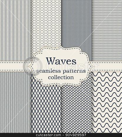 Vector illustration set of seamless patterns waves stock vector clipart, Vector illustration set of seamless patterns waves. by Amelisk