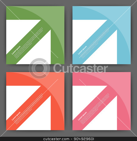 Stock Vector Design template square cards stock vector clipart, Stock Vector Design template square cards with arrows. by Amelisk