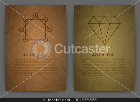 Vector illustration design magazine template stock vector clipart, Vector illustration Card a4. Realistic paper . Signs of alchemy . Two invitations. by Amelisk