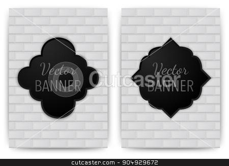 Vector illustration of a banner invitations stock vector clipart, Vector illustration of a banner invitations. texture bricks. Stock vector by Amelisk