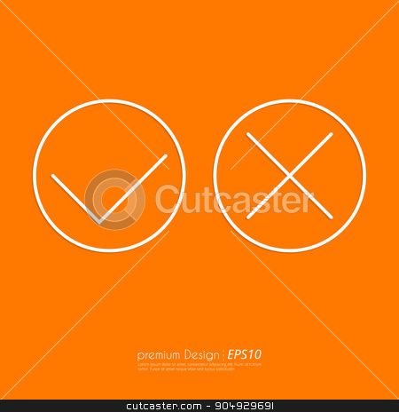 Stock Vector Linear icon yes and no stock vector clipart, Stock Vector Linear icon yes and no. Flat design. by Amelisk