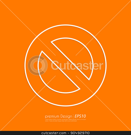 Stock Vector Linear icon prohibited stock vector clipart, Stock Vector Linear icon prohibited. Flat design. by Amelisk