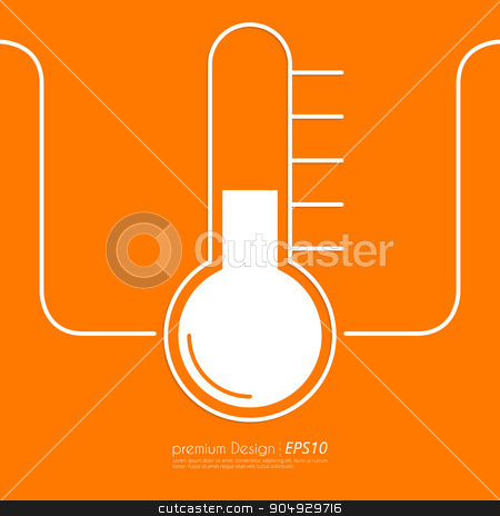 Stock Vector Linear icon thermometer stock vector clipart, Stock Vector Linear icon thermometer. Flat design. by Amelisk