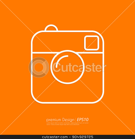 Vector illustration of a linear camera icon. stock vector clipart, Vector illustration of a linear camera icon. Flat design. by Amelisk
