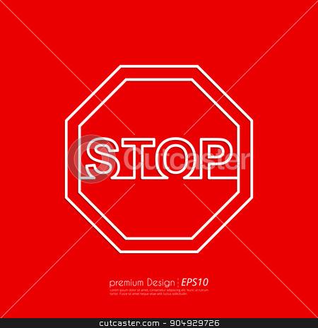Vector illustration Line stop sign. stock vector clipart, Vector illustration Line stop sign. Flat design. by Amelisk