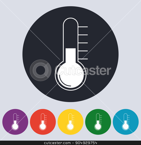 Stock Vector Linear icon thermometer. stock vector clipart, Stock Vector Linear icon thermometer. Flat design. by Amelisk