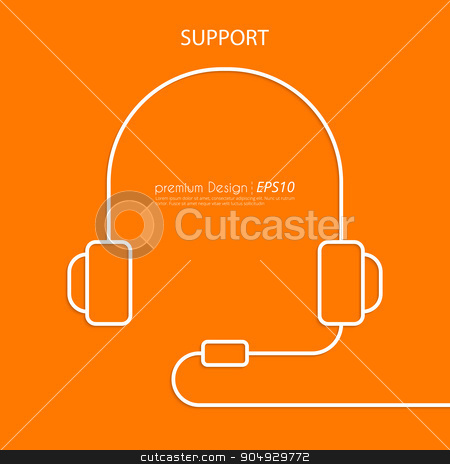 Vector illustration of a linear headphone stock vector clipart, Vector illustration of a linear headphone. Flat design. Support. by Amelisk