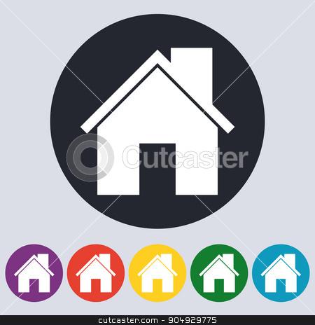 Stock Vector Linear icon house stock vector clipart, Stock Vector Linear icon house. Flat design. by Amelisk