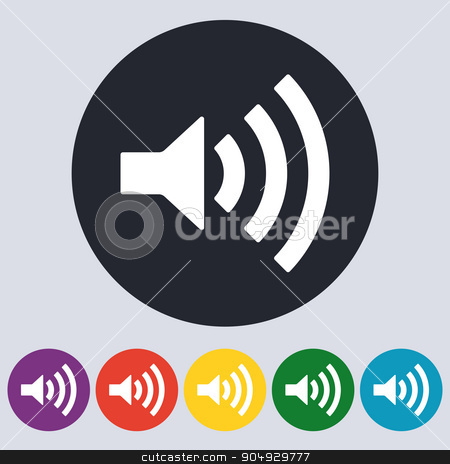 Stock Vector Linear icon sound stock vector clipart, Stock Vector Linear icon sound. Flat design. by Amelisk