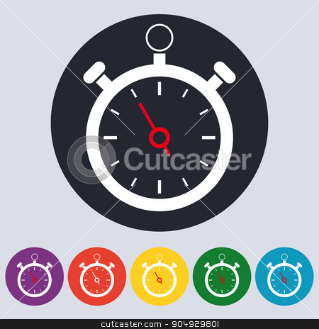 Stock Vector Linear icon stopwatch stock vector clipart, Stock Vector Linear icon stopwatch. Flat design. by Amelisk