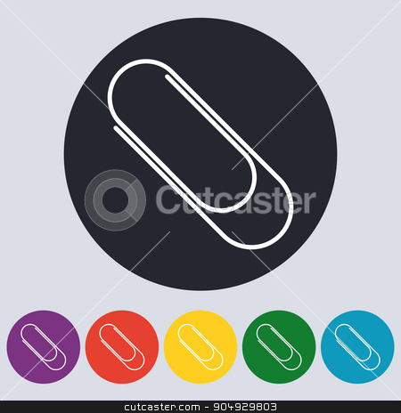 Stock Vector Linear icon paperclip stock vector clipart, Stock Vector Linear icon paperclip. Flat design. by Amelisk