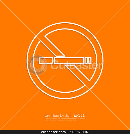 Stock Vector Linear icon no smoking stock vector clipart, Stock Vector Linear icon no smoking. Flat design. by Amelisk