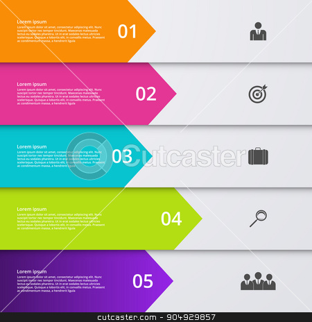 Vector illustration infographic five options. stock vector clipart, Vector illustration infographic five options. Stock vector by Amelisk