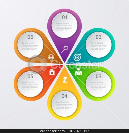Vector illustration infographics six options. stock vector clipart, Vector illustration infographics six options. Stock vector by Amelisk