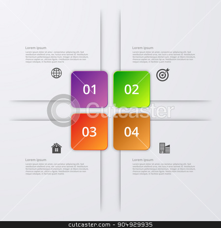 Vector illustration infographics four options. stock vector clipart, Vector illustration of four square infographics. Stock vector by Amelisk