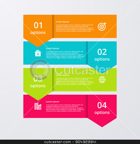 Vector illustration infographics four options. stock vector clipart, Vector illustration infographics four options. Stock vector by Amelisk