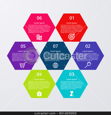 Vector illustration infographics seven hexagons stock vector clipart, Vector illustration infographics seven hexagons. Stock vector by Amelisk