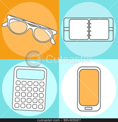 Set Abstract Creative concept vector illustration of modern Mobile phone, Calculator, Notepad, sunglasses. Line icons. Flat design pictogram stock vector clipart, Abstract Creative concept vector illustration of modern Mobile phone. Line icons. Flat design pictogram by Vladimir Khapaev