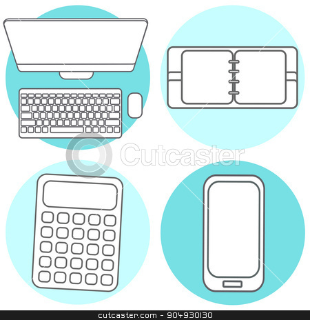 Set Abstract Creative concept vector illustration of modern Mobile phone, Calculator, Notepad, computer. Line icons. Flat design pictogram stock vector clipart, Abstract Creative concept vector illustration of modern Mobile phone. Line icons. Flat design pictogram by Vladimir Khapaev