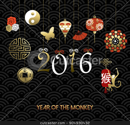 Chinese new year 2016 monkey symbol decoration stock vector clipart, 2016 Happy Chinese New Year of the Monkey. Traditional holiday decoration ornaments and culture icons with text. EPS10 vector. by Cienpies Design