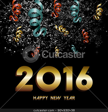 New Year 2016 firework confetti gold card stock vector clipart, Happy New Year 2016 greeting card, gold text with night sky firework and confetti explosion background. EPS10 vector. by Cienpies Design