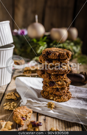 Homemade Christmas cookies stock photo, Homemade Christmas cookies with nuts and carrots, with nuts inside and dried berries by Peteer
