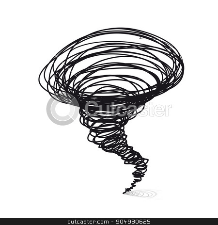 Vector hand-drawn illustrations. Cyclone tornado stock photo, Vector hand-drawn illustrations. Cyclone tornado on a white background by sermax55