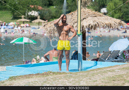 Handsome Muscle Man Takes A Shower Outdoors stock photo, Handsome Man Doing A Shower In A Pool Spa Outdoors by Jasminko Ibrakovic