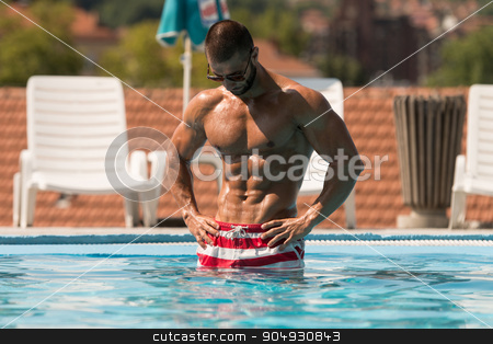 Perfect Abs In A Pool Spa Outdoors stock photo, Fashion Portrait Of A Very Muscular Sexy Man In Underwear At Swimming Pool by Jasminko Ibrakovic