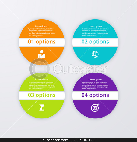 Vector illustration infographics four options. stock vector clipart, Vector illustration infographics four circles.  Stock vector by Amelisk