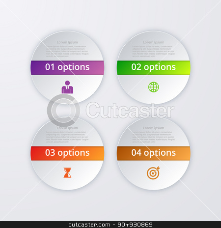 Vector illustration of infographics four options stock vector clipart, Vector illustration infographics four circles. Stock vector by Amelisk
