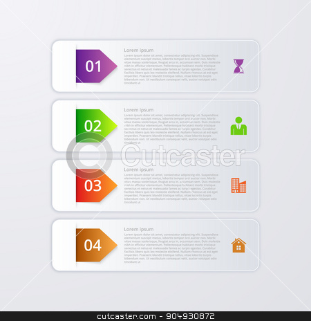 Vector illustration of infographics four options stock vector clipart, Vector illustration of four rectangles infographics. Stock vector by Amelisk