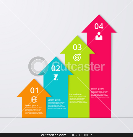 Vector illustration of infographics four options stock vector clipart, Vector illustration infographics four arrows. Stock vector by Amelisk