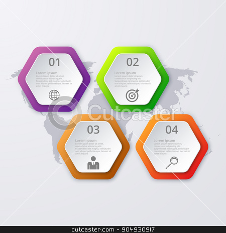 Vector illustration of infographics four options stock vector clipart, Vector illustration infographics four hexagon. Stock vector by Amelisk