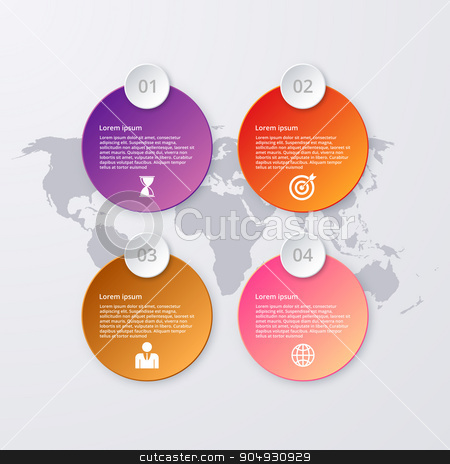 Vector illustration of infographics four options stock vector clipart, Vector illustration of circles infographics. Stock vector by Amelisk