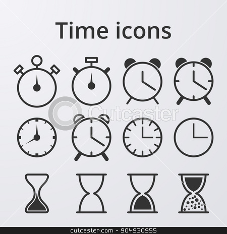 Stock Vector Clock set icons stock vector clipart, Stock Vector Clock set icons. Stock vector by Amelisk